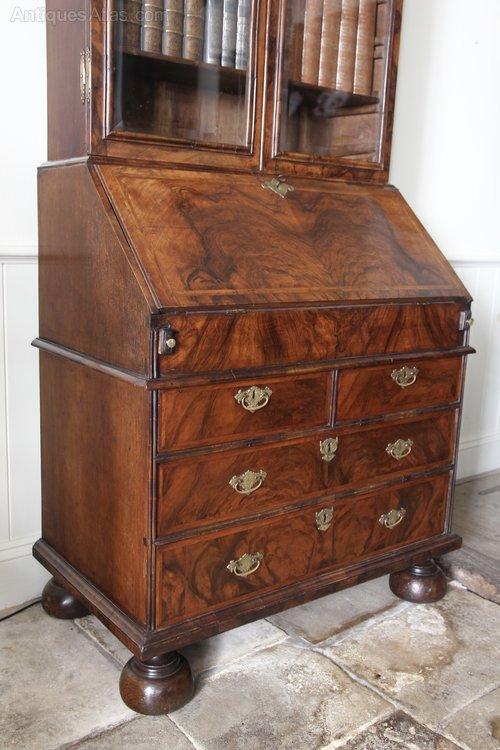 17th Century Walnut Glazed Bureau Bookcase V336