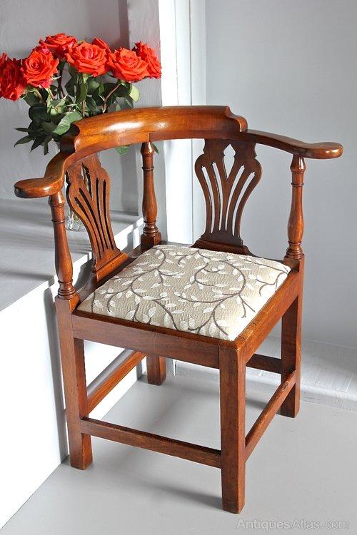 18th Century Walnut Corner Armchair.