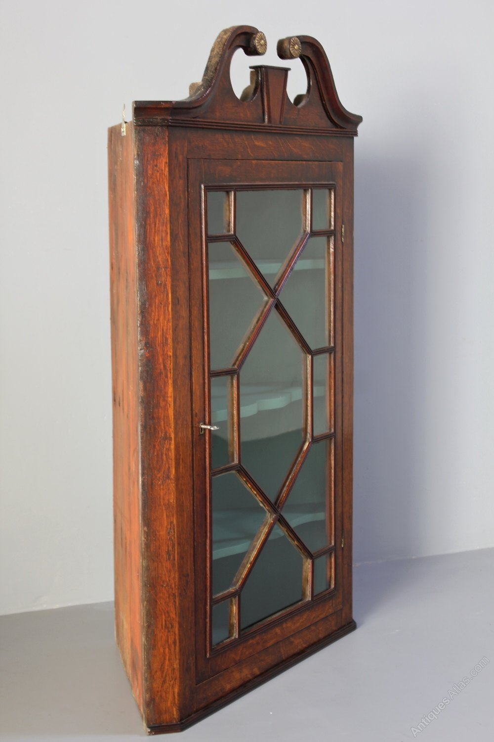 Bon 19th Century Glass Front Oak Corner Cupboard. Antique Wall Cabinets ...