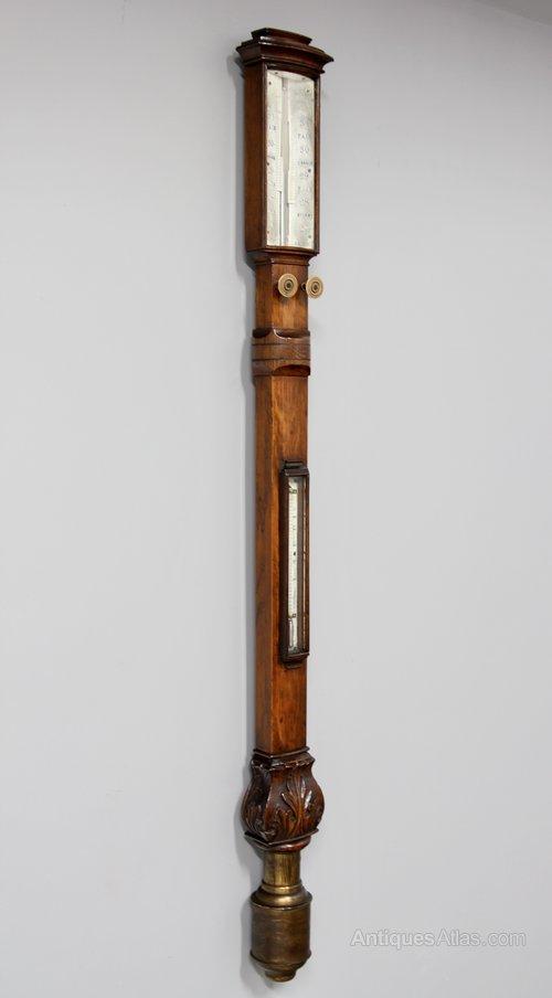 Antique Bow Front Oak Stick Barometer V351