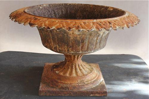 Antique Cast Iron Tazza Garden Urn