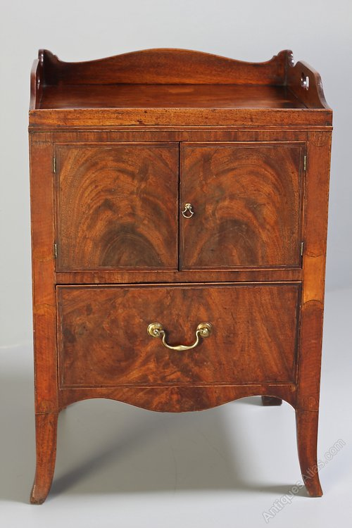 Antique Georgian Mahogany Tray Top Cabinet Commode ...