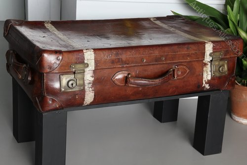 Antique Leather Suitcase by H. Greaves. V195