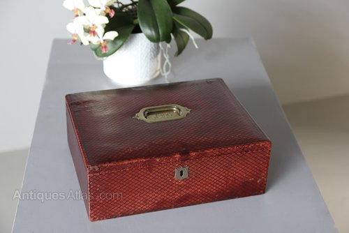 Antique Red Tooled Leather Writing Box