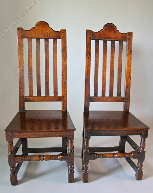 Pair of 17th Century Oak Tall Back Chairs V82