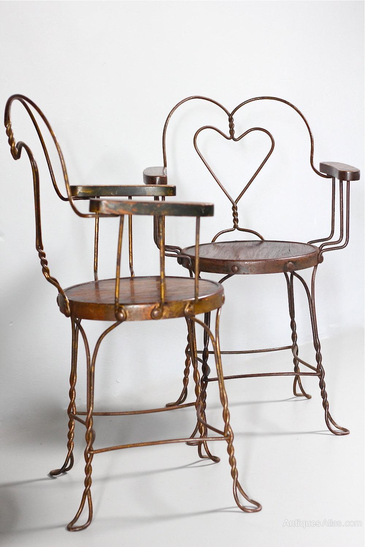 Pair of Vintage American Ice-Cream Parlour Chairs ... - Pair Of Vintage American Ice-Cream Parlour Chairs - Antiques Atlas