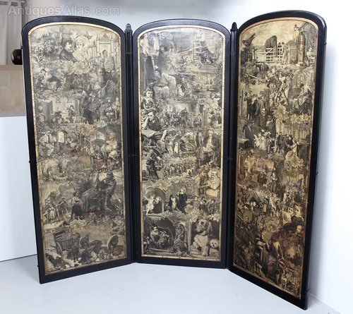 Victorian Decoupage Reversible 3-Fold Screen