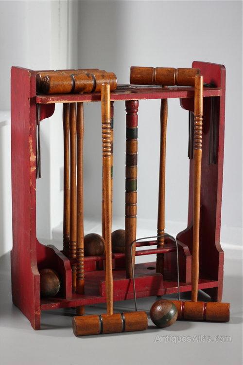 Vintage Croquet Set On Stand