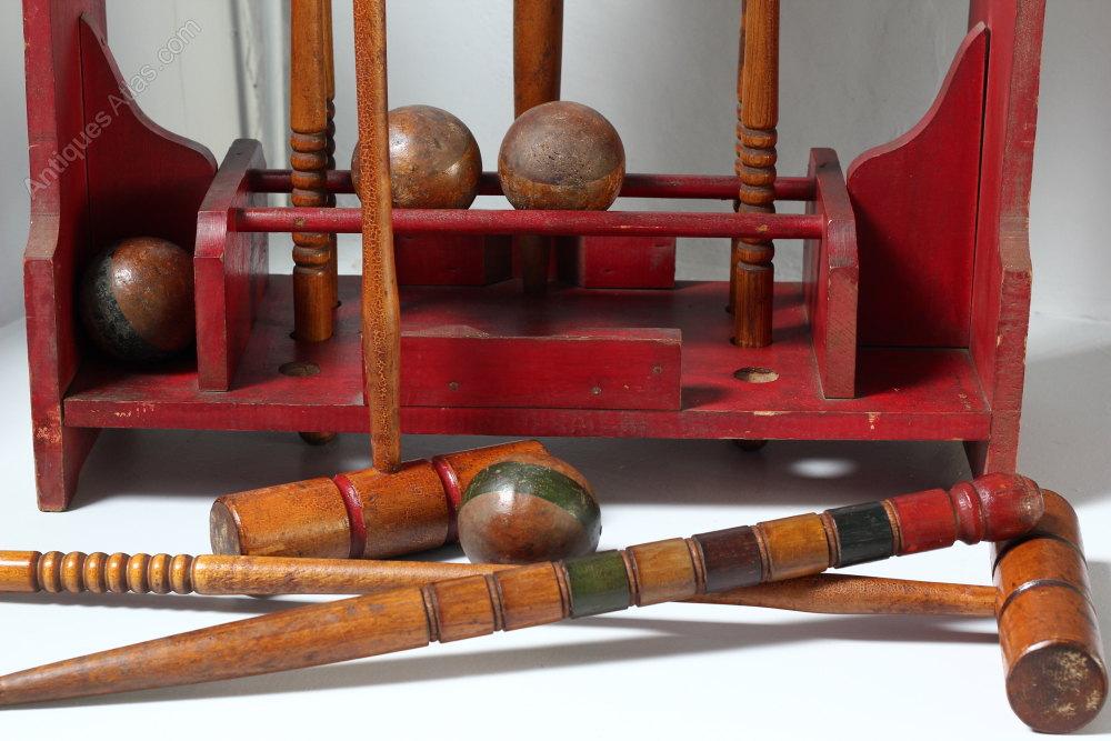 Vintage Croquet Set On Stand 1930s Alt5