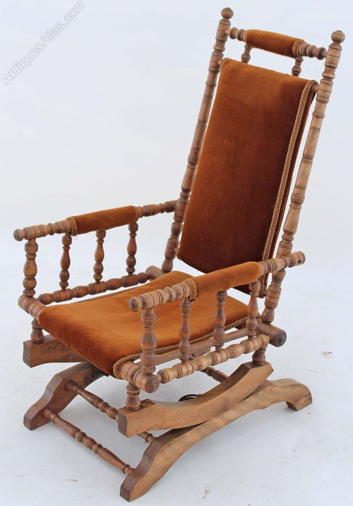 19C Victorian American walnut beech rocking chair Antique ... - 19C Victorian American Walnut Beech Rocking Chair - Antiques Atlas