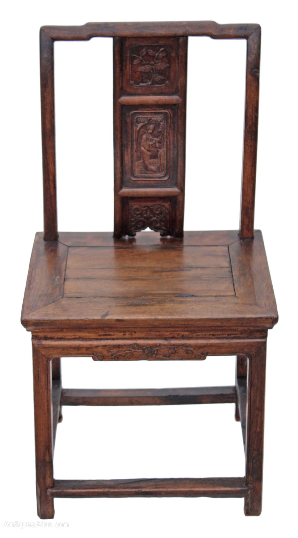 Antique Foyer Chair : Th century chinese carved elm chair hall side antiques
