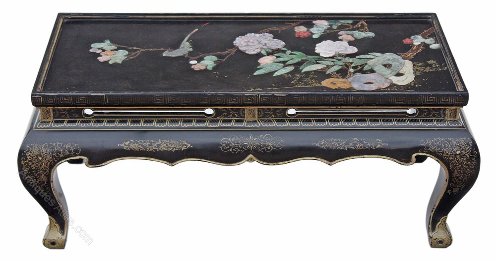 Chinese Black Lacquer Coffee Side Occasional Table Antique Tables