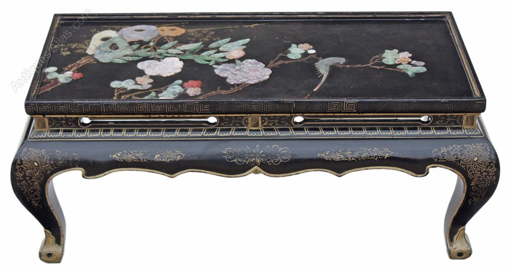 Charmant Chinese Black Lacquer Coffee Side Occasional Table Antique Coffee Tables  Chinese Decorated Black ...