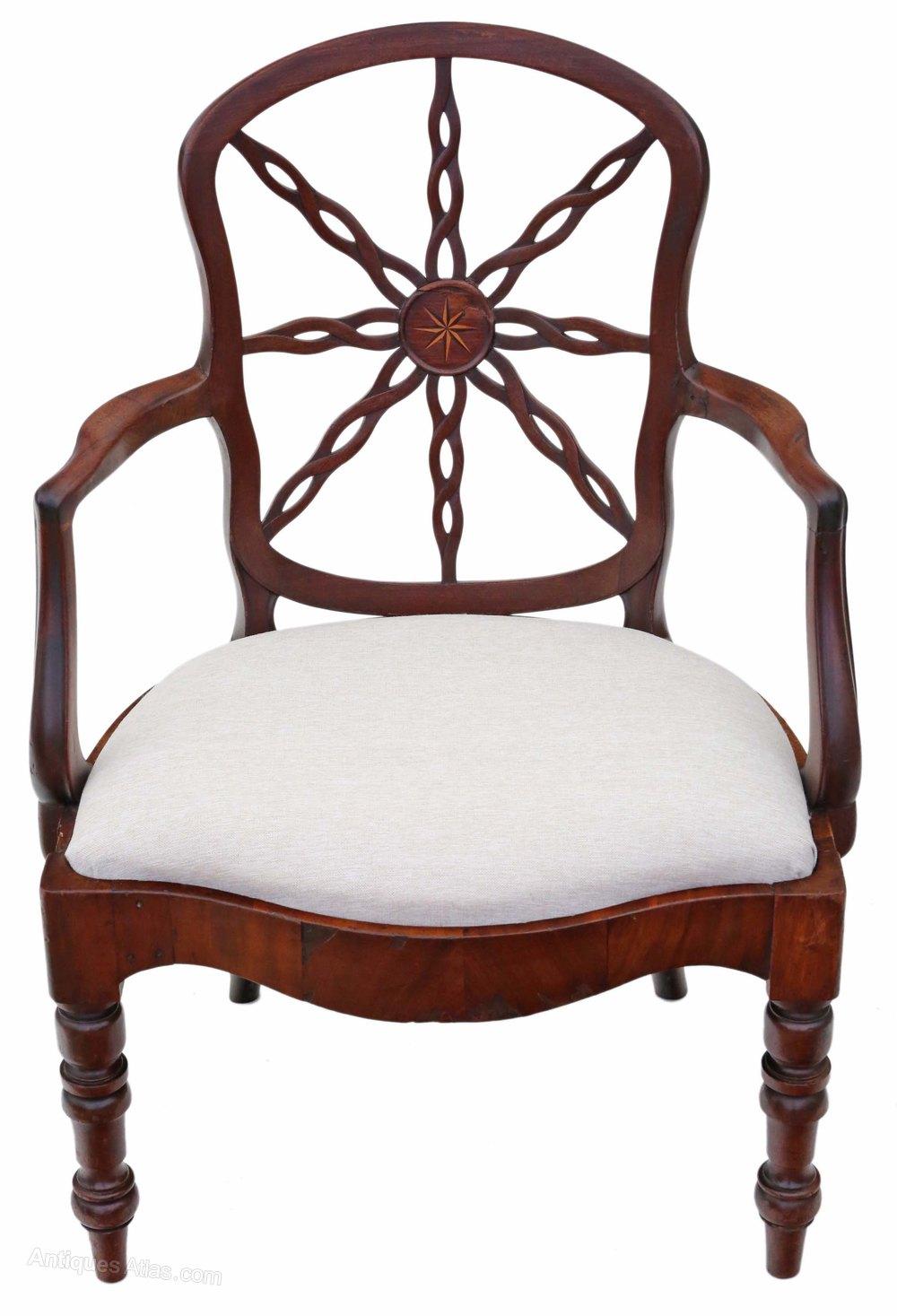 Georgian C1800 Mahogany Office Elbow Desk Chair Antiques