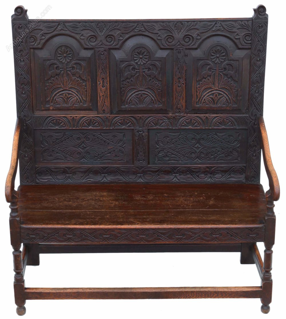 Georgian Carved Oak Settle Bench Seat 18th Century