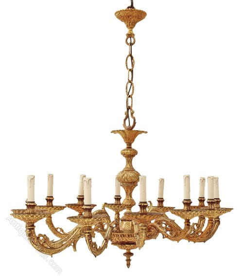 Antiques atlas huge oval 12 lamp ormolu brass chandelier spanish aloadofball