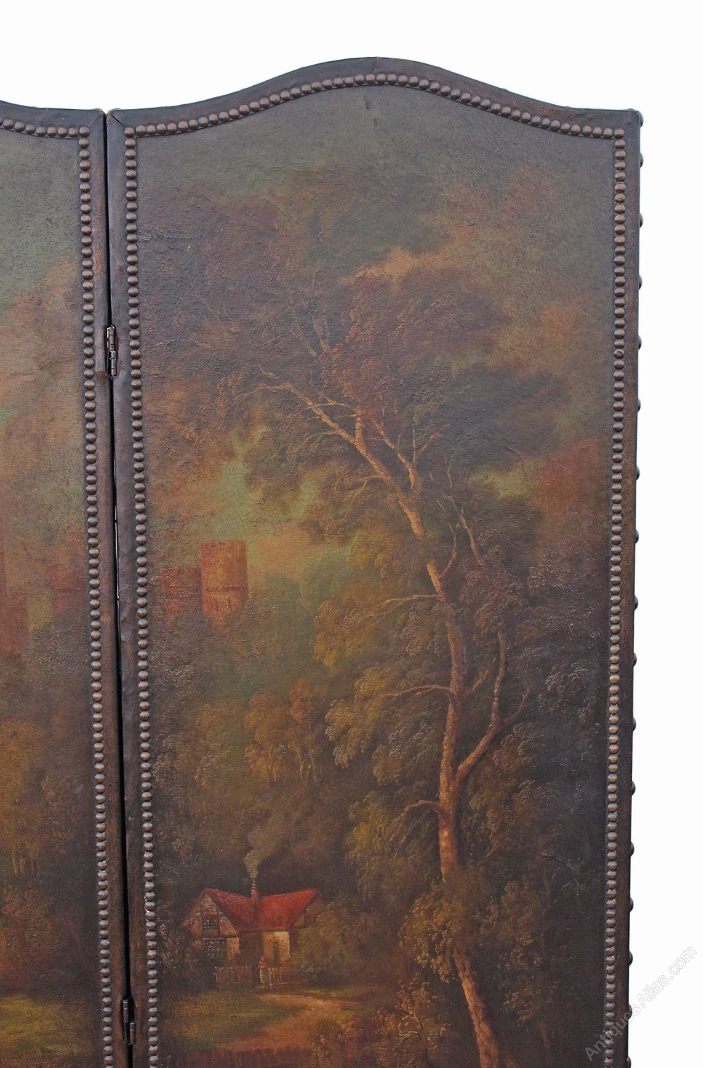 Large Edwardian Oil Painting Leather Screen Antiques Atlas