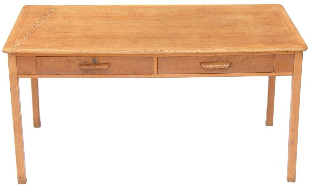 Large Mid 20c Light Oak Writing Table Desk