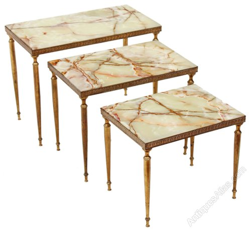 Nest 3 Onyx Marble Br Tables Side Occasional