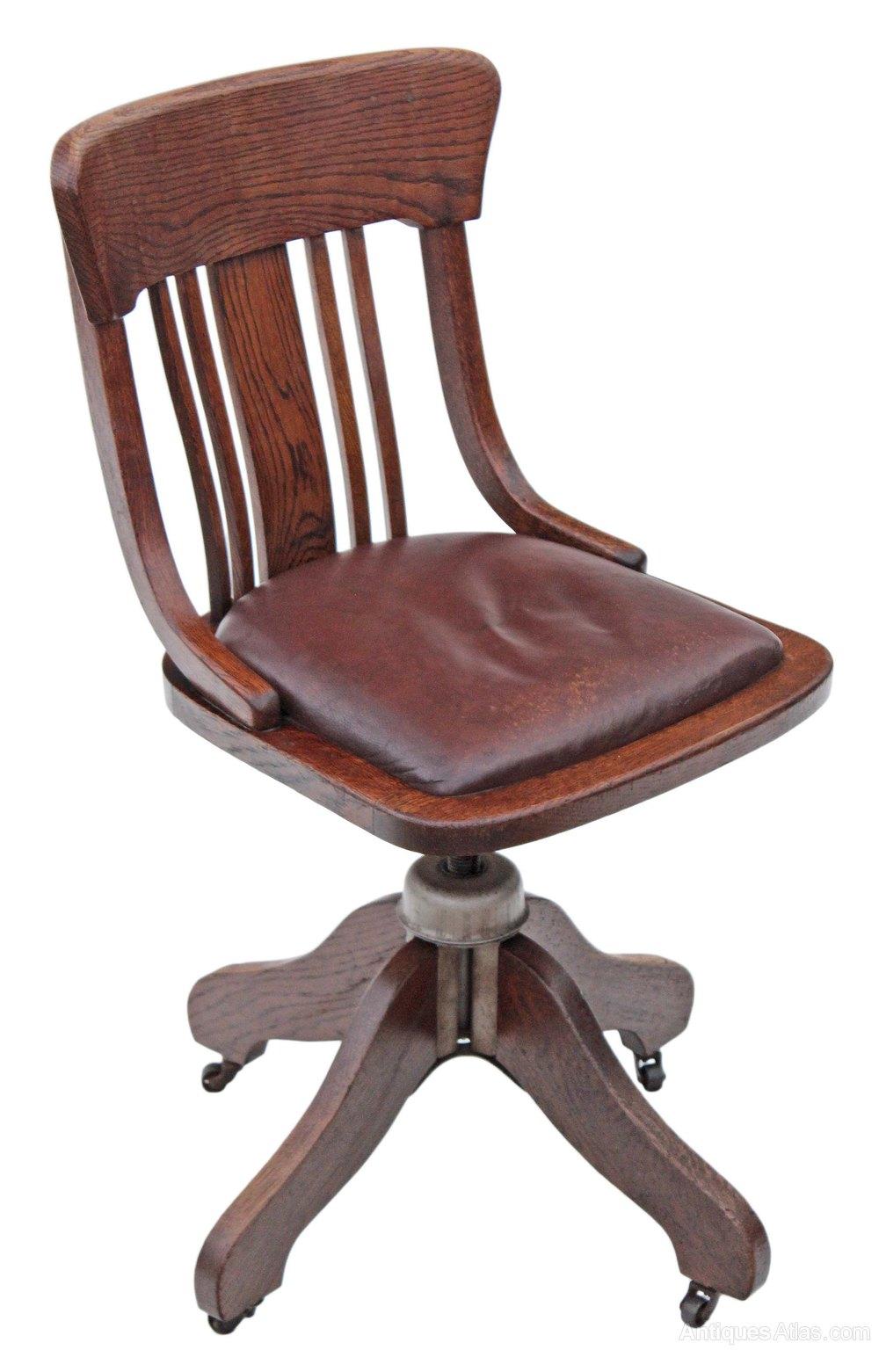Oak And Leather Desk Office Swivel Chair Antiques Atlas