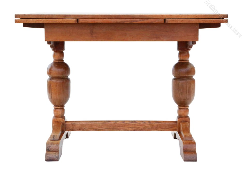 Oak drawer leaf extending refectory dining table Dining table with drawer