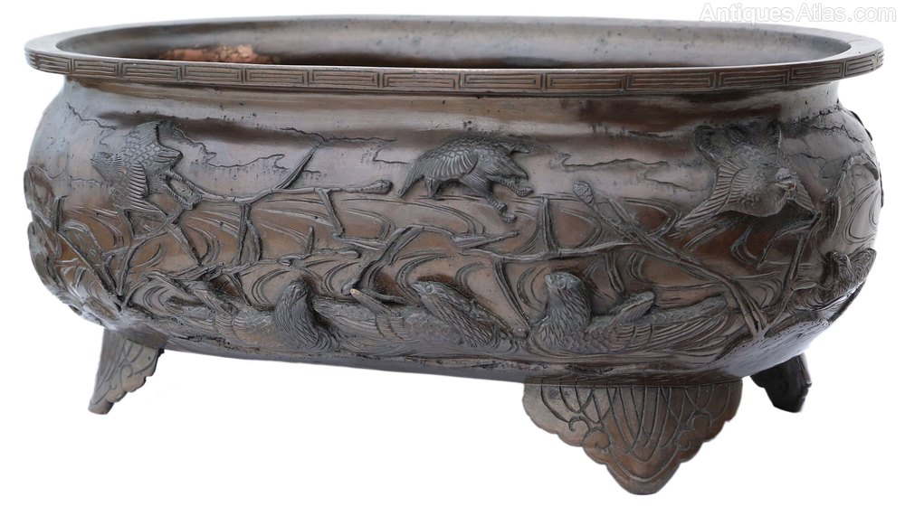Antiques Atlas Oriental Bronze Vase Bowl Planter Japanese Chinese