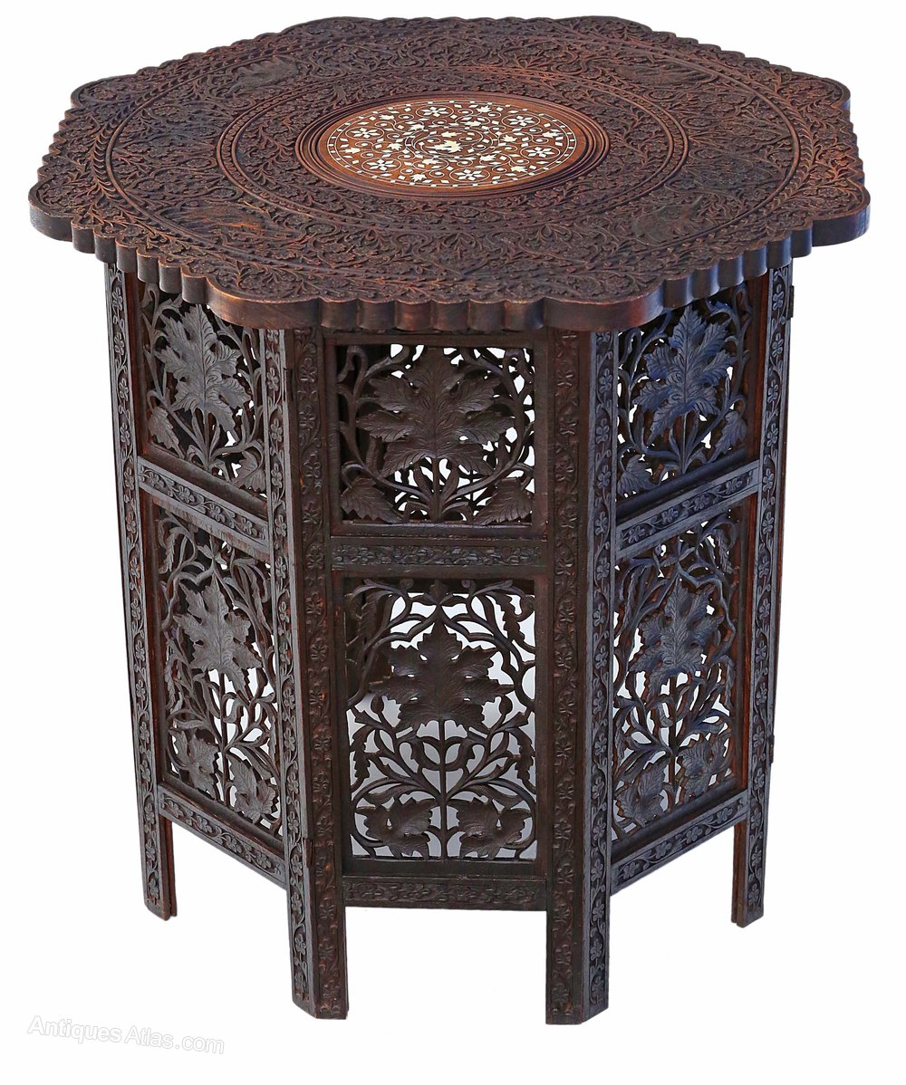 Padauk Victorian Anglo Indian Folding Side Table