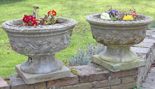 Pair Large Weathered Patinated Concrete Plant Pots