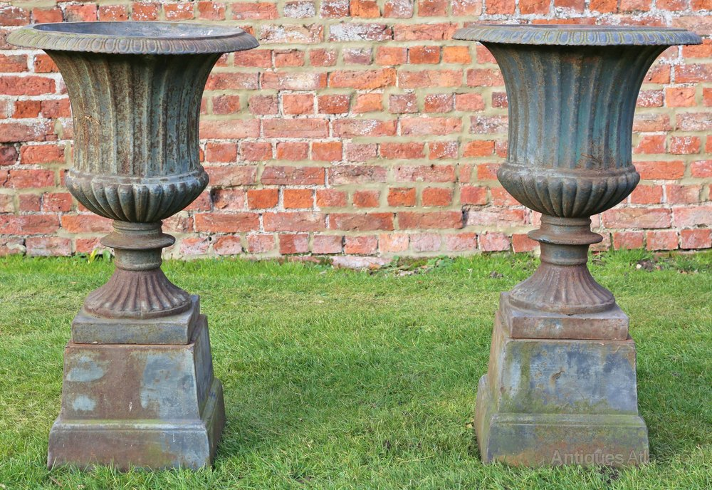 Antiques Atlas Pair Of Cast Iron Planters Classical Urns
