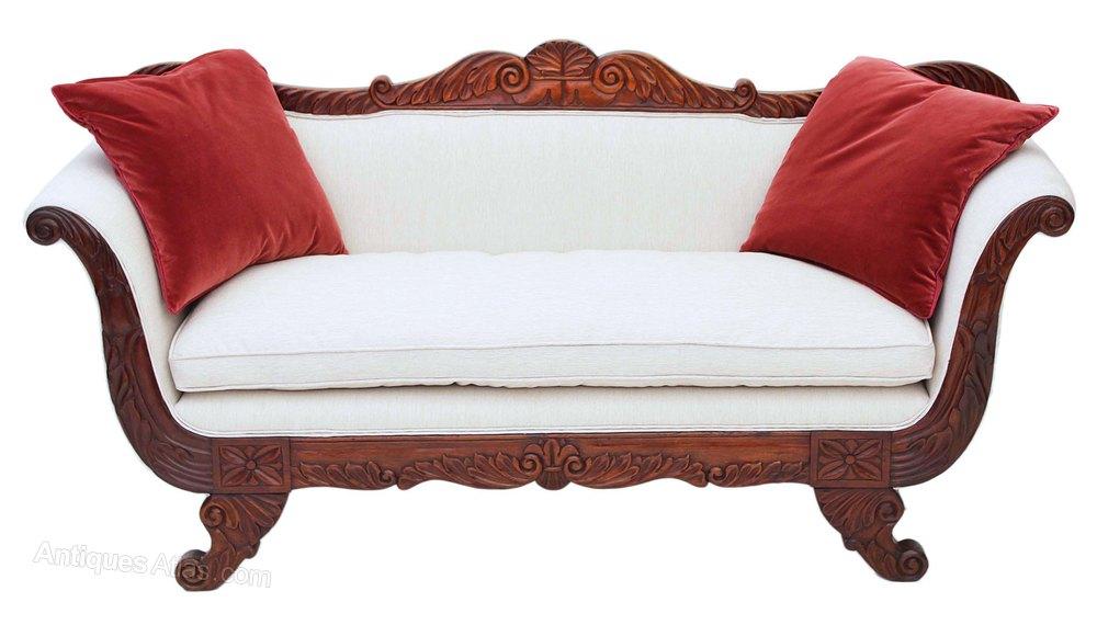 Regency Scroll Arm Sofa Chaise Longue Mahogany - Antiques Atlas on chaise recliner chair, chaise sofa sleeper, chaise furniture,