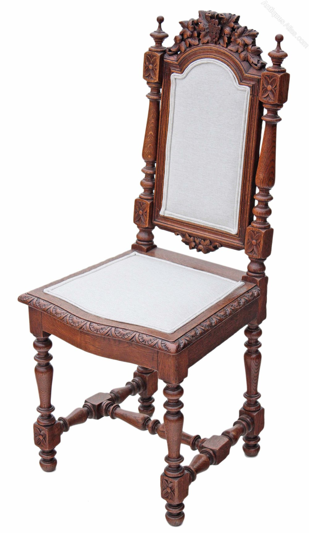 Set Of 4 Victorian Gothic Carved Oak Dining Chairs ...