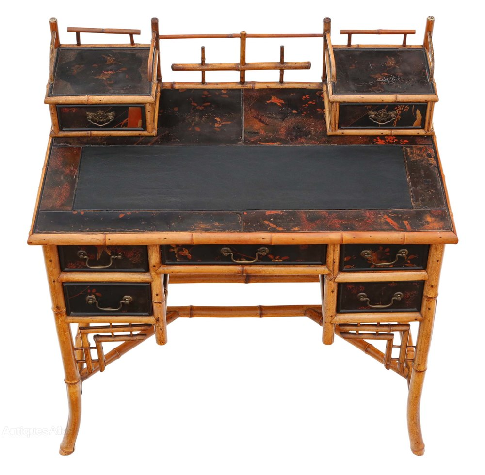 Victorian Chinoiserie Bamboo Desk Dressing Table Antique Desks