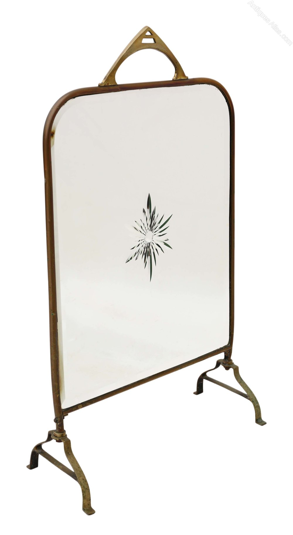 Antiques atlas victorian brass cut glass fire screen for How to cut glass with fire