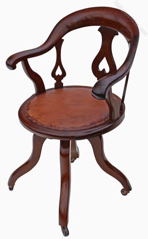 Victorian Mahogany & Leather Swivel Desk Chair