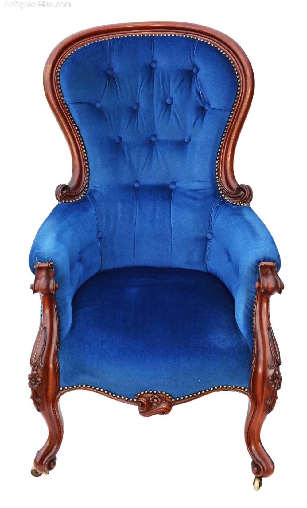 Victorian Mahogany Spoon Back Armchair Slipper - Antiques ...