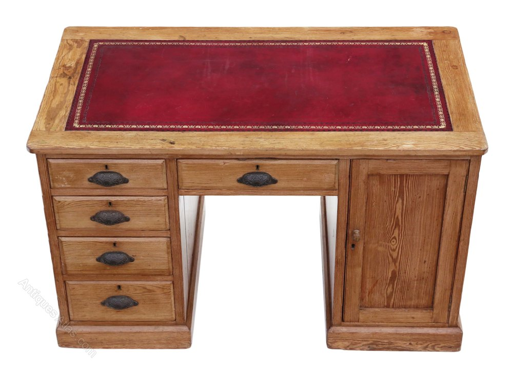 Victorian Pine Twin Pedestal Desk Or Writing Table Antique Pedestal Desks  ... - Victorian Pine Twin Pedestal Desk Or Writing Table - Antiques Atlas