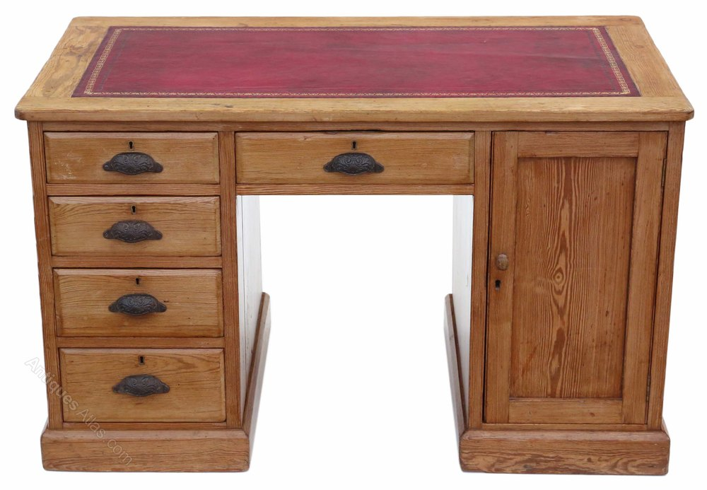 Victorian Pine Twin Pedestal Desk Or Writing Table