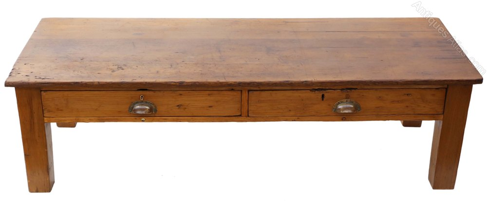 Vintage Victorian Rustic Scrub Top Pine Coffee Table
