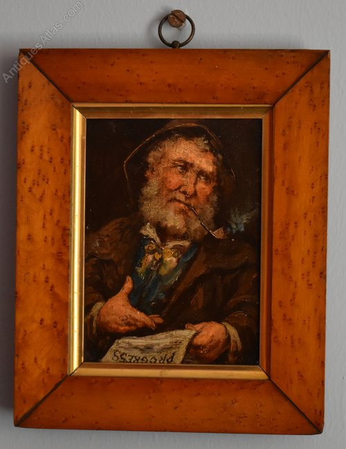 Antiques Atlas Miniature Oil Painting Of An Old Man