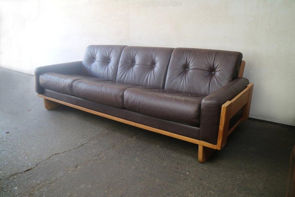 1970 S Danish Mid Century Leather Sofa With Oak Fr