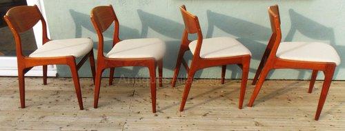 Set Of 4 Danish Style Teak Dining Chairs 1960s