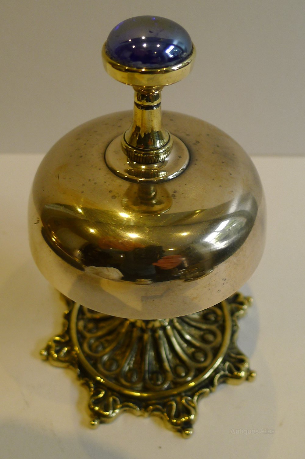 Antique English Brass Desk Bell C 1880 Furniture Accessories