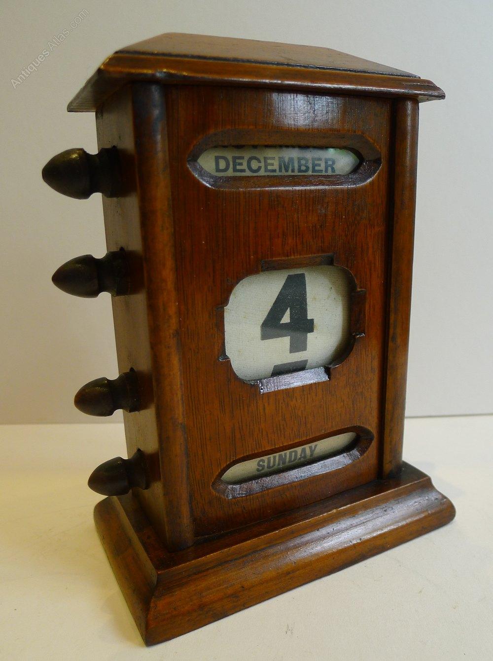 Antique English Gany Perpetual Desk Calendar