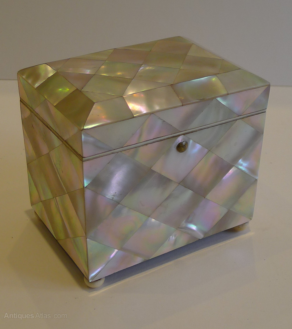 English Mother Of Pearl Tea Caddy C 1860