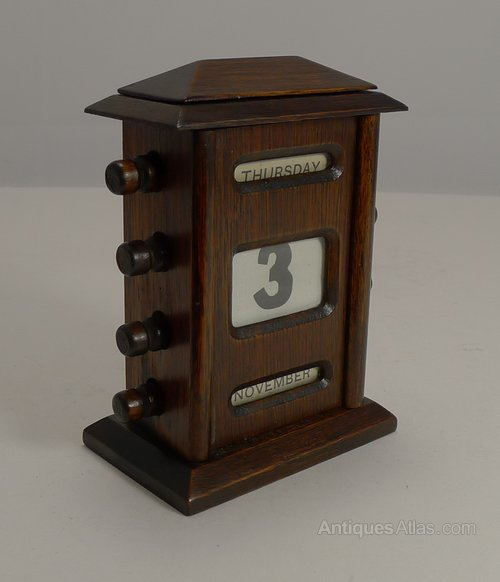 - Antiques Atlas - Antique English Oak Perpetual Desk Calendar