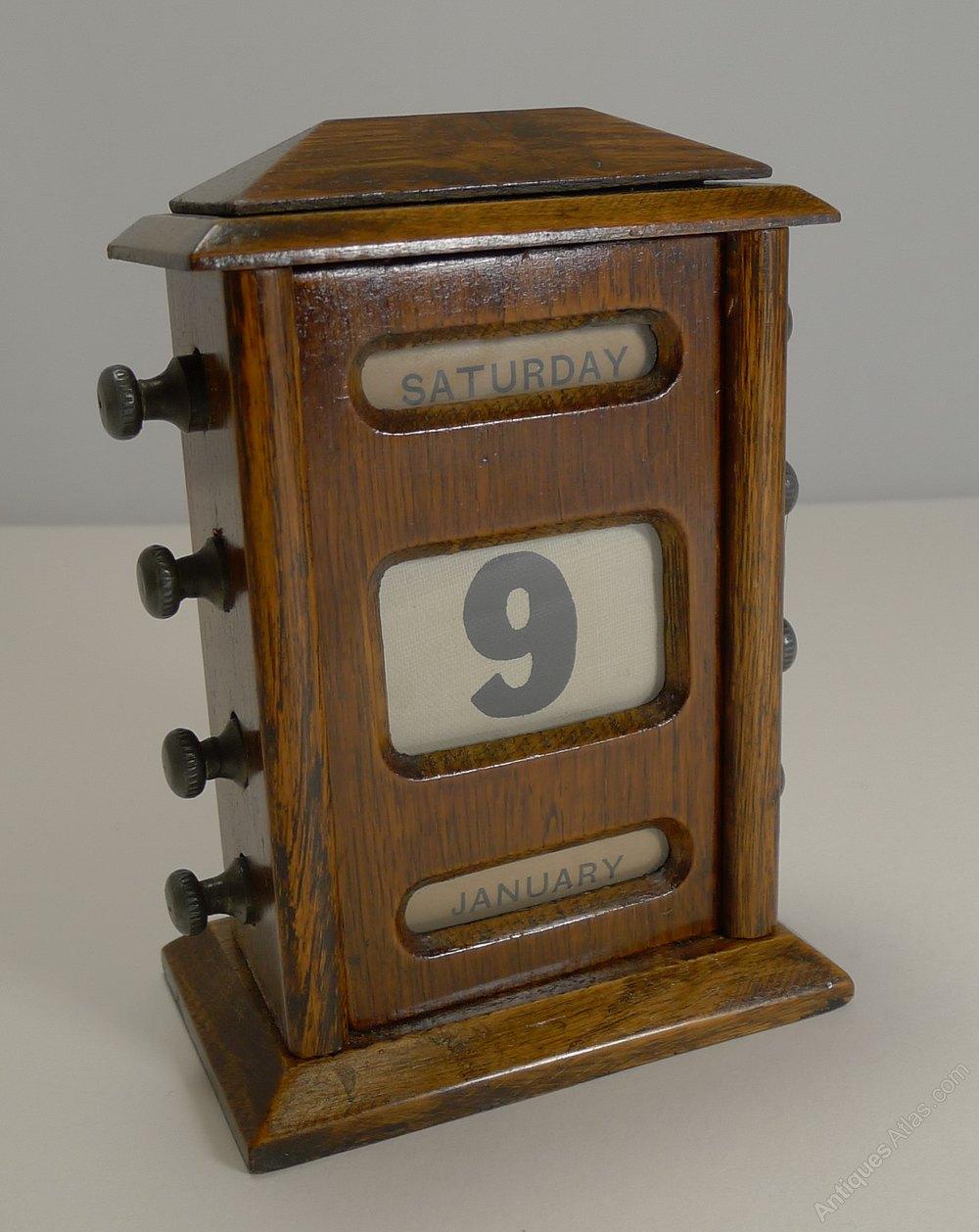 Perpetual Calendar Desk : Antiques atlas antique english oak perpetual desk
