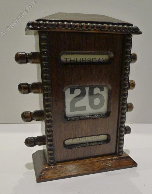 Antique English Oak Perpetual Desk Calendar c.1900 ... - Antiques Atlas - Antique English Oak Perpetual Desk Calendar C.1900