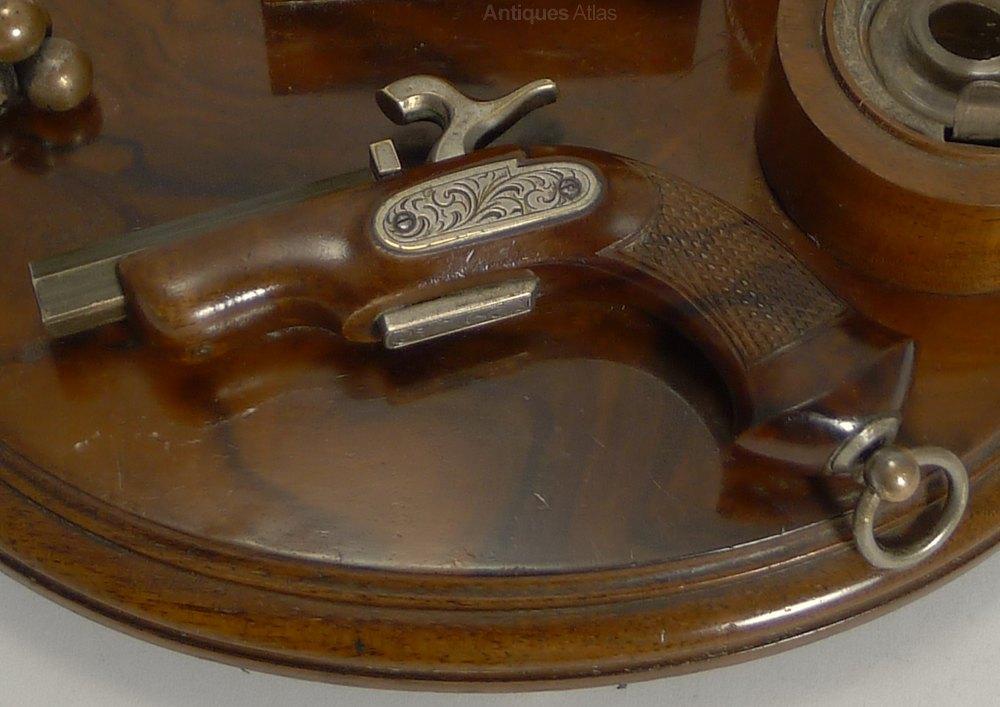 ... Antique Desk Sets ... - Antiques Atlas - Antique Walnut Gun Themed Desk Set C.1890
