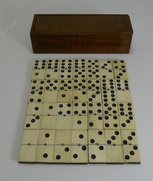 Antiques Atlas Boxed Set Bone Ebony Wood Dominoes C1890