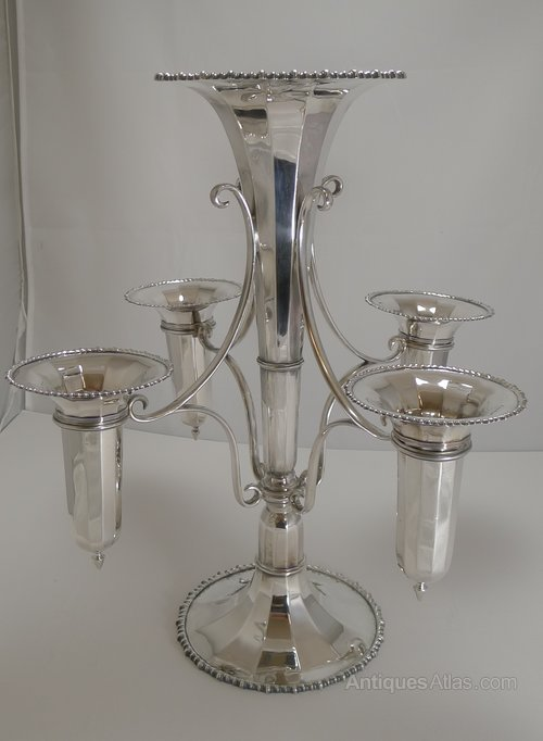 Antiques Atlas - Large Silver Plated Trumpet Epergne